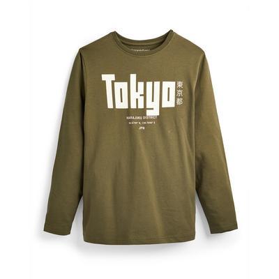 T-shirt kaki à manches longues avec imprimé Tokyo ado