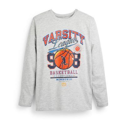 T-shirt gris à manches longues avec imprimé Varsity ado