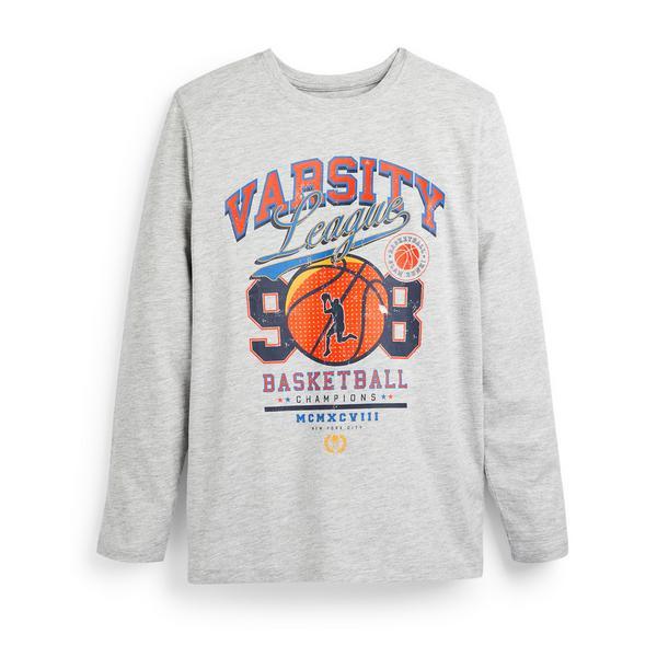 Siva majica z dolgimi rokavi s potiskom Varsity za fante Primark Cares