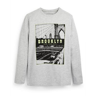 T-shirt gris à manches longues avec imprimé Brooklyn ado