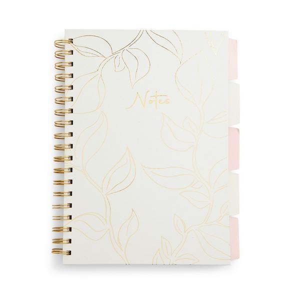 Elfenbeinfarbenes A5-Notizbuch mit Foliendruck und Registerkarten
