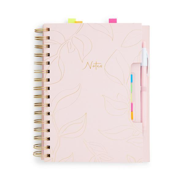 Cuaderno rosa metalizado A5 con pestañas