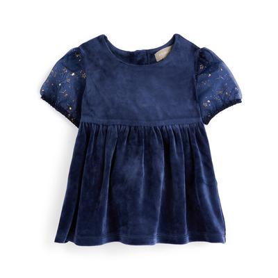 Baby Girl Navy Star Print Party Dress