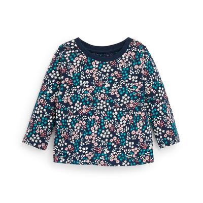 Baby Girl Navy Floral Print Longsleeve T-Shirt