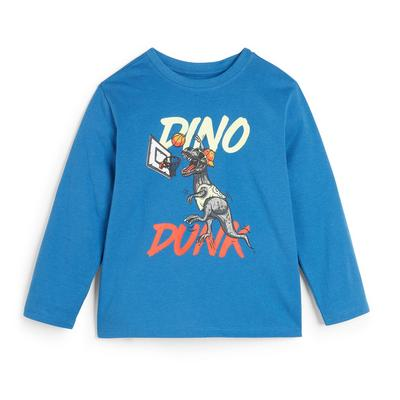 T-shirt bleu à manches longues et imprimé Dino garçon