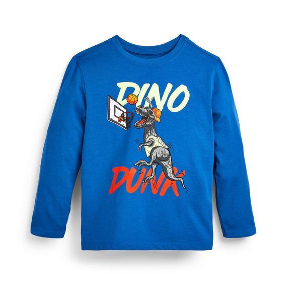 Blaues Langarmshirt mit Dino-Print (kleine Jungen)