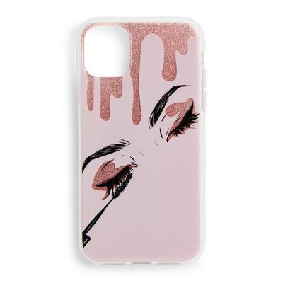 Pink Eyelash Print Phone Case