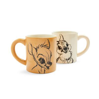 Lot de 2 mugs beiges Disney Bambi