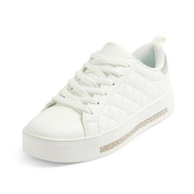 White Diamante Sole Low Top Trainers