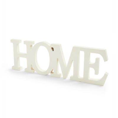 White Wooden Home Sign