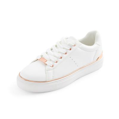 White Metal Detail Sneakers