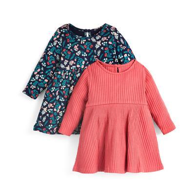 Baby Girl Ribbed Longsleeve Dress 2 Pack