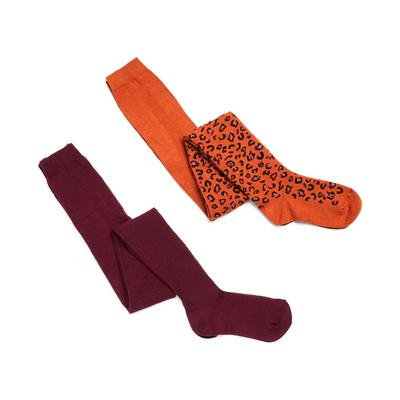 Girls Leopard Print Tights 2 Pack