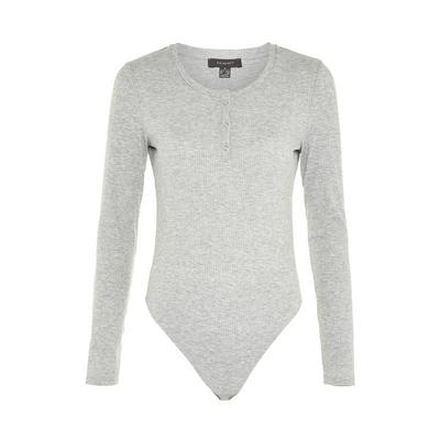 Gray Long Sleeve Snap Detail Bodysuit