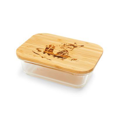 Boîte à déjeuner en verre façon croquis avec couvercle en bois Bambi Panpan
