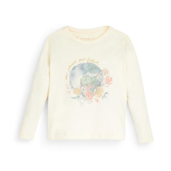 T-shirt avorio a maniche lunghe con scritta Primark Cares da bambina