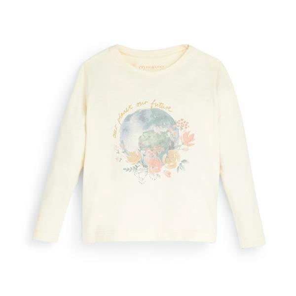 Ivoorwit T-shirt Primark Cares met lange mouwen en tekstprint voor meisjes