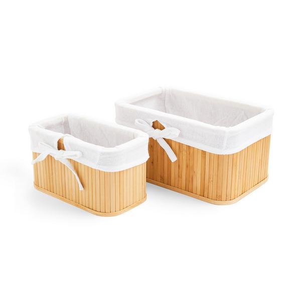 Pack de 2 cestas de bambú