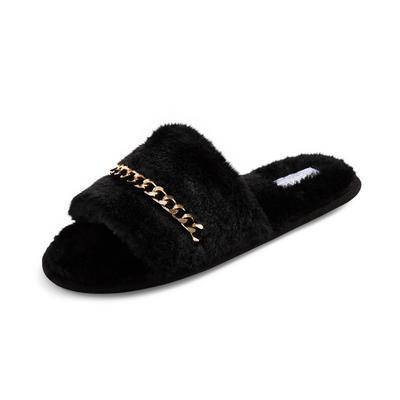 Black Fluffy Chain Detail Slide Slippers
