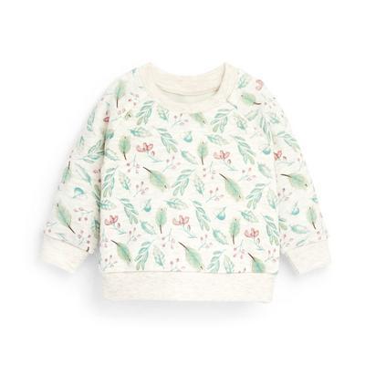 Baby Girl Ivory Winter Leaf Print Crew Neck Sweater