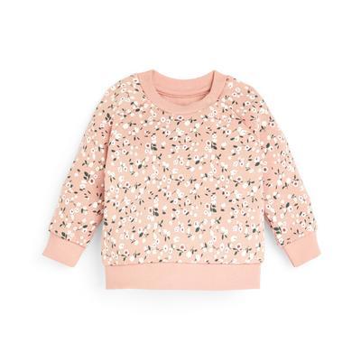 Baby Girl Pink Floral Print Crew Neck Sweatshirt