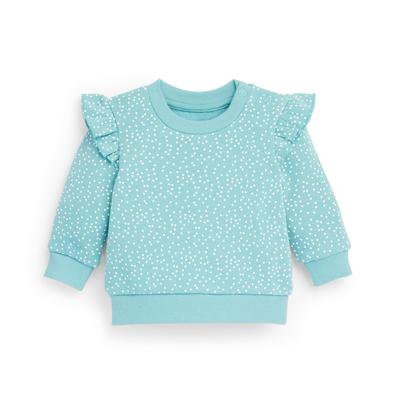 Baby Girl Blue Dot Print Crew Neck Sweater