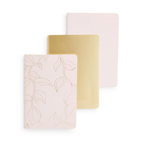 Pack de 3 cuadernos dorados metalizados tamaño A6