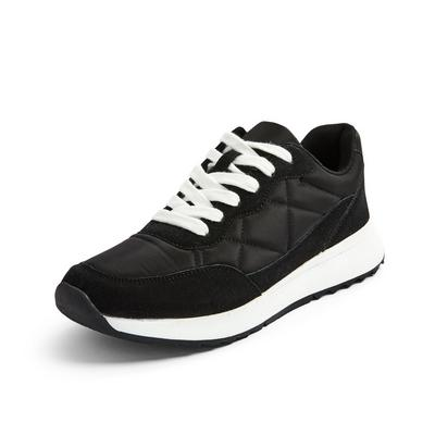 Black Quilted Retro Trainers