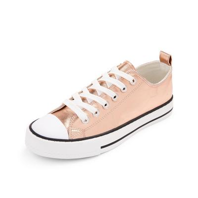 Blush Pink Classic Faux PU Leather Low Top Trainers