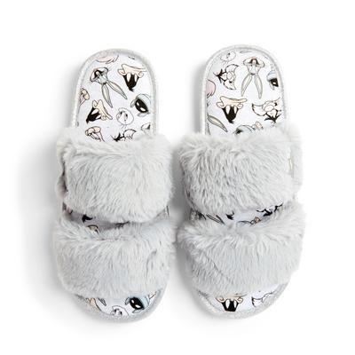 Gray Faux Fur Bugs Bunny Slippers