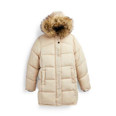 Older Girl Beige Ultimate Longline Puffer Coat