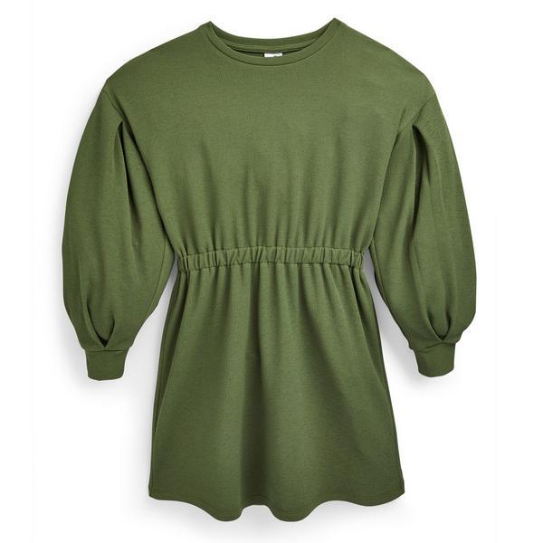 Vestido cintado rapariga verde