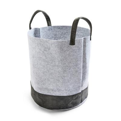 Saco lavandaria feltro e veludo cinzento