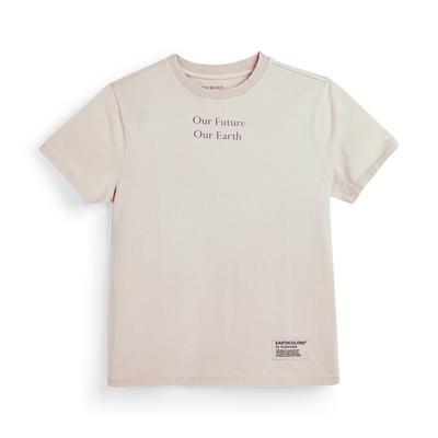 Poederroze Earthcolors By Archroma T-shirt van biologisch katoen voor meisjes