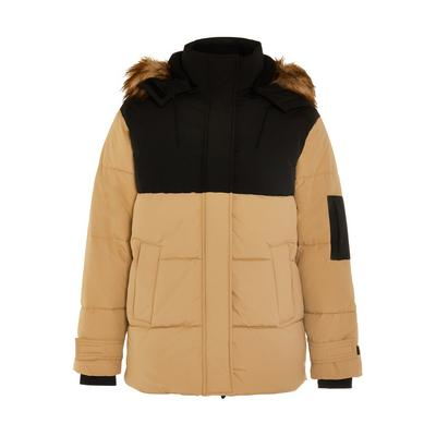 Beigefarbene Great Outdoors Jacke in Blockfarben mit Kunstfellkapuze