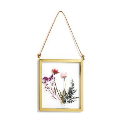 Kleiner, schwebender Glasrahmen mit gepressten Blumen