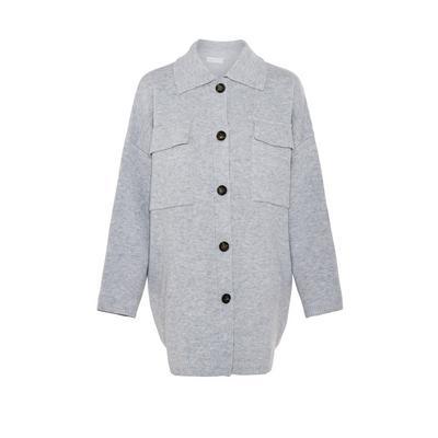 Manteau cardigan gris oversize boutonné en maille