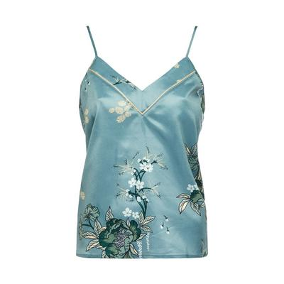 Blue Satin Sanctuary Print Pajama Camisole