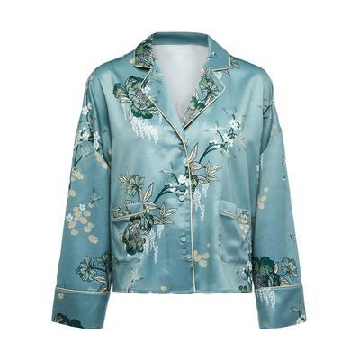 Blue Satin Sanctuary Print Pajama Shirt