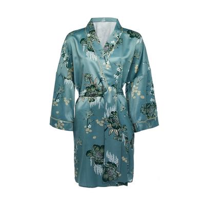 Blue Satin Sanctuary Print Robe