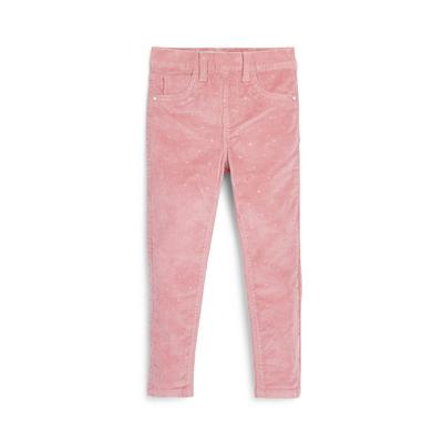Younger Girl Pink Corduroy Glitter Jeggings
