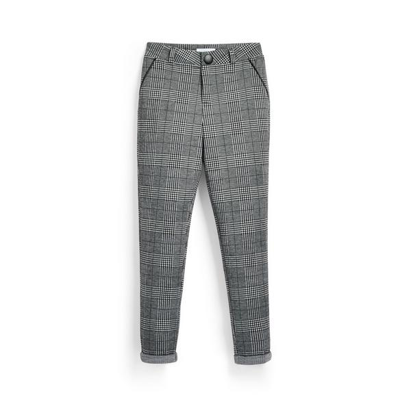 Older Girl Monochrome Check Trousers