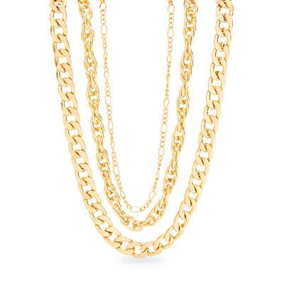 Dreireihige, grobgliedrige Halskette in Gold