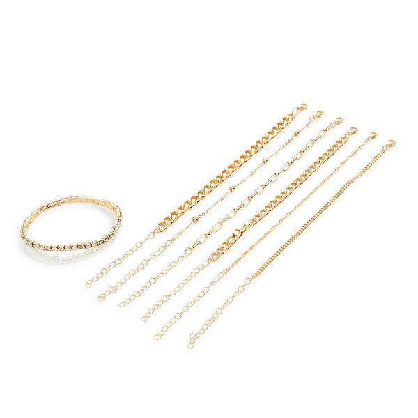 8-Pack Goldtone Friendship Chain Bracelet Set