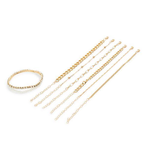 Lot de 8 bracelets de l'amitié dorés avec chaîne