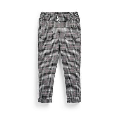 Pantalon monochrome à carreaux fille