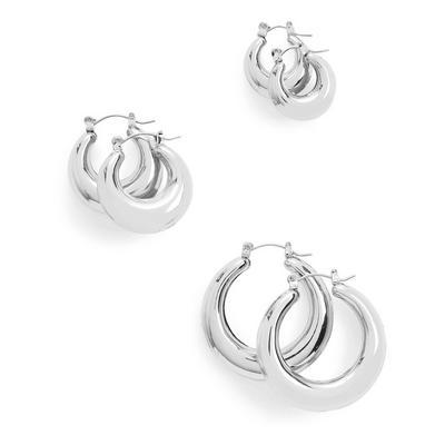Dikke zilverkleurige oorringen met scharnier, set van 3
