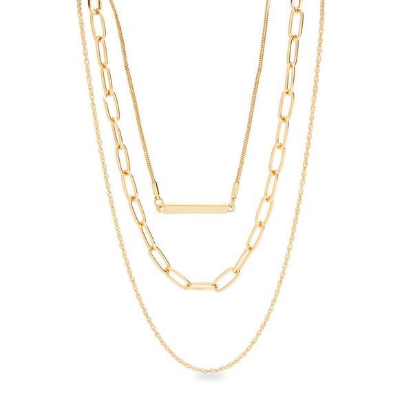 Dreireihige, filigrane Halskette in Gold