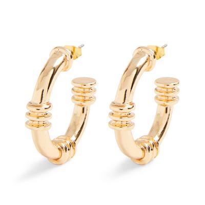Goldtone Ridge Detail Hoop Earrings