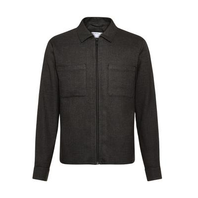 Charcoal Houndstooth Zip Tailored Jacket